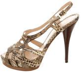 Fendi Snakeskin Cutout Sandals