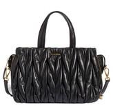 Miu Miu Matelasse Leather Top Handle Satchel - Black
