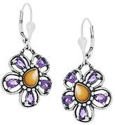 Mother of Pearl Carolyn Pollack Sterling Gemstone Flower Drop Earrings