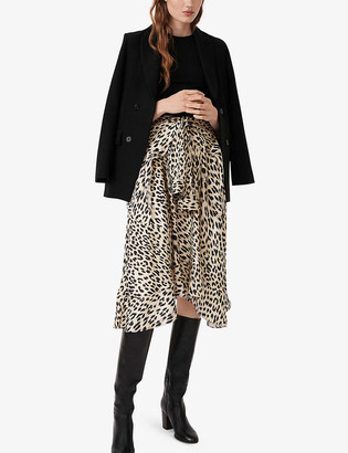 Maje Raprile leopard print skirt midi dress