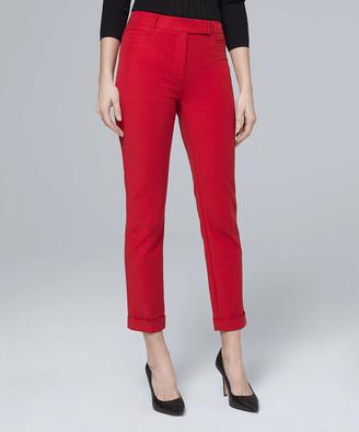 White House Black Market Women's Casual Pants Roman - Roman Red The Slim Crop Pants - Women
