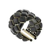 Kara Ross very good (VG 18k Yellow Gold Wide Black Onyx Cuff Bracelet