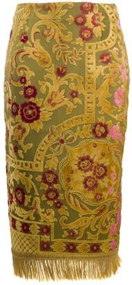 Marine Serre Tapestry Panelled Pencil Skirt