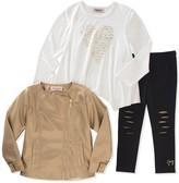 Juicy Couture Foil Print Heart Tee, Metallic Faux Leather Moto Jacket & Knee Slash Leggings Set (Little Girls)