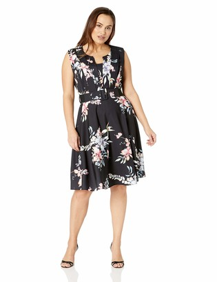 City Chic Women's Apparel Women's Plus Size Sleeveless Printed FIT and Flare Dress