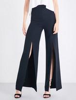 Cushnie et Ochs Split-leg wide high-rise silk-gabardine palazzo trousers