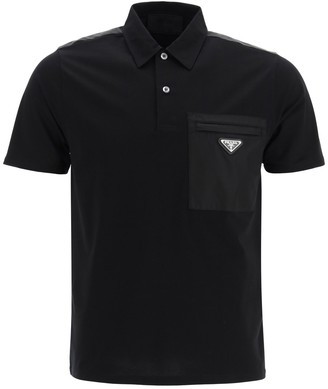 Prada Triangle Logo Pocket Polo Shirt