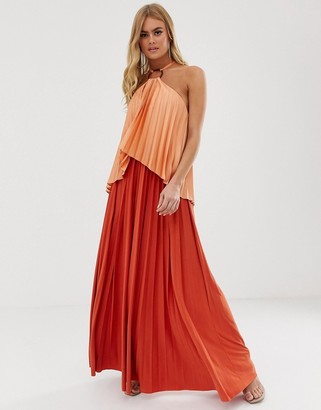 Asos Design DESIGN ring detail crop top pleat maxi in satin shine-Orange