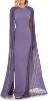 Kay Unger Pleated Cape Sleeve Column Gown