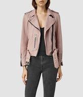 AllSaints Wyatt Zip Leather Biker Jacket