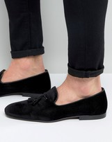 Asos Tassel Loafers In Black Velvet