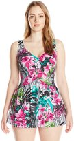 Maxine Of Hollywood Women's Plus-Size Tropic Dreams Empire Swim Dress Swimsuit