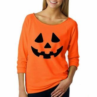 HOOUDO Womens Halloween Sweatshirt Pumpkin Print Long Sleeve Pullover Tops Blouse Shirt(M
