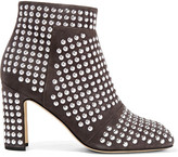 Christopher Kane Studded Suede Ankle Boots - Gray