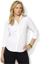 Lauren Ralph Lauren Plus Size Rolled-Sleeve Button-Front Shirt