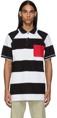 Burberry Black and White Oversized Rugby Stripe Polo