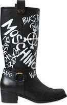 Moschino 40mm Printed Leather Boots