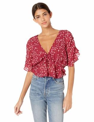 Finders Keepers findersKEEPERS Women's Twilight Ruffle Print Short Sleeve Blouse TOP