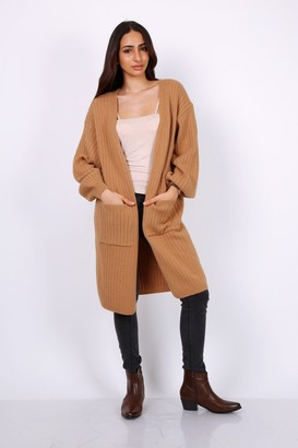 Lilura London Chunky Knit Oversized Cardigan In Camel