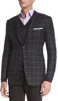 Brioni Windowpane Two-Button Jacket, Gray