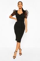 Thumbnail for your product : boohoo Organza Mesh Puff Sleeve Midi Dress
