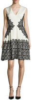 Lela Rose V-Neck Scroll Guipure Lace Dress, Ivory/Black