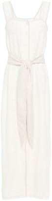 Nanushka Rita Vegan Leather-trimmed Cotton-blend Cloque Midi Dress