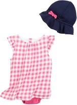 Isaac Mizrahi Oversized Gingham Sundress & Sunhat (Baby Girls 12-24M)