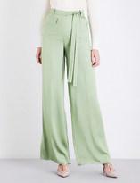 Valentino High-rise wide-leg silk-blend trousers