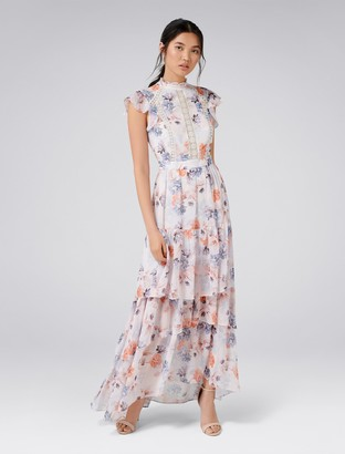 Forever New Esme Trim Maxi Dress - Light Based Print - 4