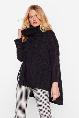 Nasty Gal Womens That's How We Roll Cable Knit Sweater - Black
