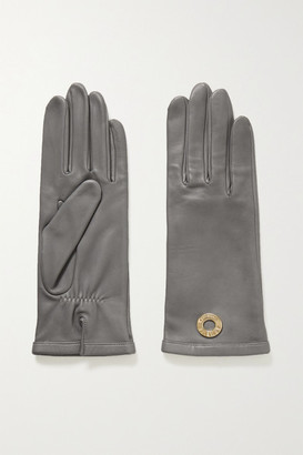 Agnelle Embellished Leather Gloves - Anthracite
