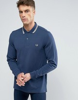 Fred Perry Polo Shirt With Long Sleeves In Service Blue