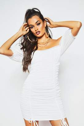 boohoo Peasant Mesh Ruched Bodycon Mini Dress