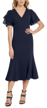 DKNY V-Neck Layered-Sleeve Dress