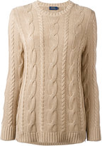 Polo Ralph Lauren braided trim long jumper - women - Cotton/Sheep Skin/Shearling - L