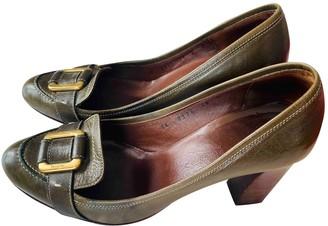 Salvatore Ferragamo Green Leather Heels