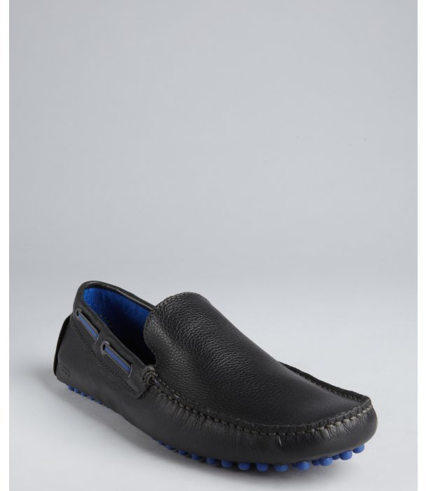 Kenneth Cole Reaction black and blue leather 'Clutch Pedal' boatstitched loafers