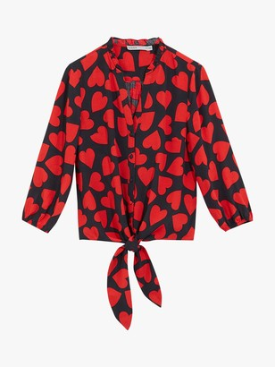 Oasis Large Heart Print Tie Front Shirt, Blue/Red