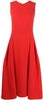Victoria Beckham Pleated Flare Midi Dress