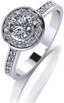 Moissanite Platium 1ct Total Halo Solitaire Ring