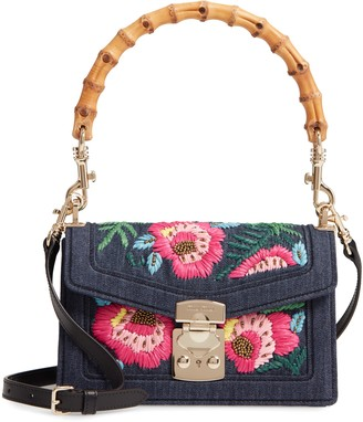 Miu Miu Denim Confidential Embroidered Top Handle Bag