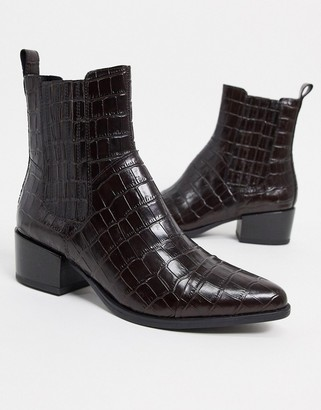 Vagabond Marja leather pointed western ankle boots in brown croc