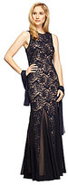 Alex Evenings Petite Sleeveless Illusion Lace Gown