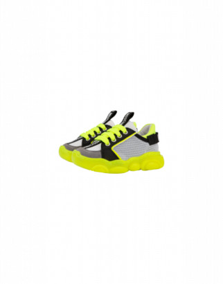Moschino Teddy Fluo Sneakers In Calfskin And Mesh Unisex Yellow Size 23 It - (6.5k Us)