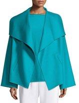 Shamask Shawl-Collar Open-Front Jacket, Teal