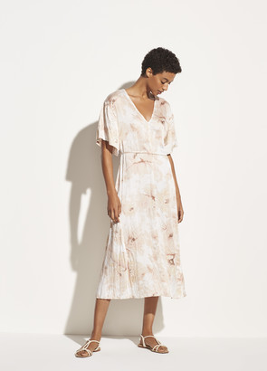Vince Painted Magnolia V-Neck Dress