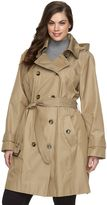 Plus Size Towne by London Fog Hooded Double-Breasted Trench Raincoat