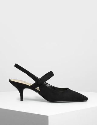 Charles & Keith Square Toe Mary Jane Slingback Heels