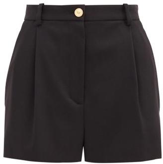 Versace High-rise Wool-blend Shorts - Black